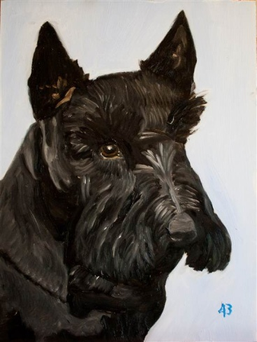 An oil painting of Barney by President George W  Bush