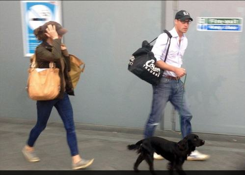 Kate William and Lupo took train from Kings Lynn Norforlk back to London with an entouraage of protection