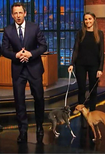 Alexi Myers and dog Frizbee with Seth Myers and David Frei Feb 12 2015.no 2 jpg copy