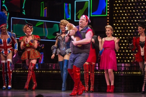 Daniel Stewart Sherman and Miss P walk on part Kinkly Boots Broadway Musical Feb 2015