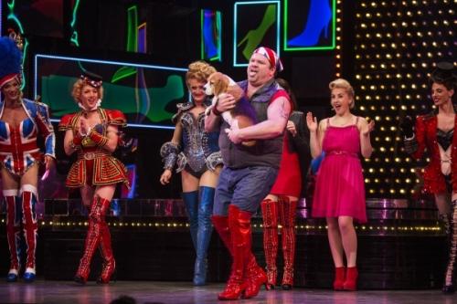 Daniel Stewart Sherman and Miss P walk on part Kinkly Boots Broadway Musical Feb 2015
