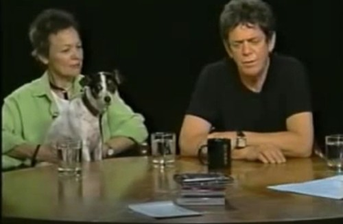 Laurie Anderson Lou Reed and their dog  on the Charlie Rose Show 2003 (2)